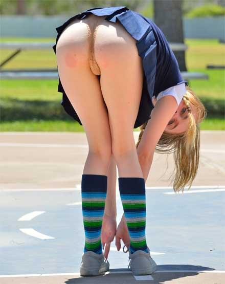 White Girl Bending Over